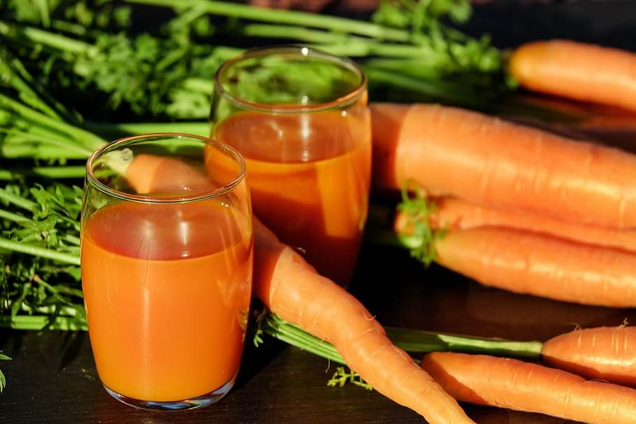 Carrot juice in a glass